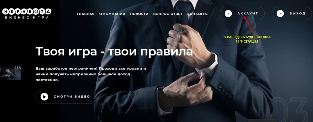 Не-работа Обзор прибыльного матричного маркетинга проекта, Регистрация в проекте Не-Работа